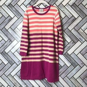 Hanna Andersson Pink/Tan Striped Sweater Dress